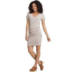 Prana Foundation Dress V-Neck Cream Black Stripe